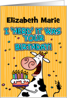 BD Cow birthday - customize for any name card