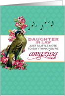 Daughter in Law- Singing Bird With Pink Flowers Note for Mother's Day card