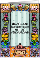 hartelijk gefeliciteerd - happy birthday in dutch card