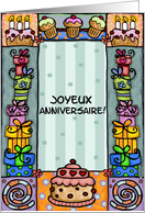 joyeux anniversaire- happy birthday in french card
