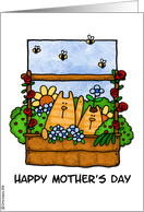 mother's day - flowerbed kitties card