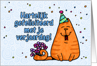 happy birthday cat - Dutch card