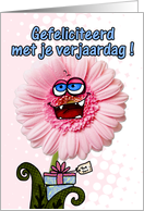 happy birthday flower - dutch2 card