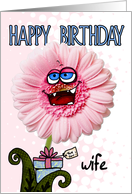 happy birthday flower - wife card