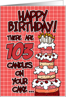 happy birthday - 103 candles on your cake card