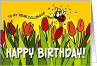 Happy Birthday tulips - colleage card