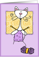 knitting kitty card