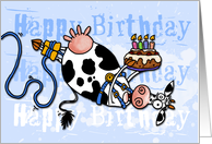 Happy Birthday - Bungee Cow card