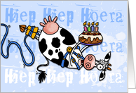 Happy Birthday - Bungee Cow (Dutch) card