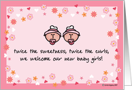 birth announcement - twins/girls card