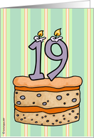 birthday - cake & candle 19 card
