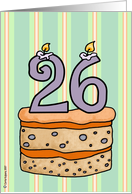 birthday - cake & candle 26 card