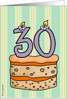 birthday - cake & candle 30 card