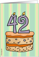 birthday - cake & candle 42 card
