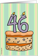 birthday - cake & candle 46 card