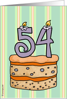 birthday - cake & candle 54 card