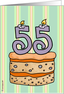 birthday - cake & candle 55 card