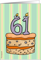 birthday - cake & candle 61 card