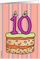 birthday - cake & candle 10 card