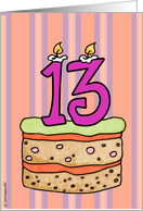 birthday - cake & candle 13 card