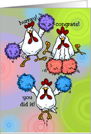 Hurray! End of Chemo - Chicken Cheerleaders card