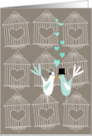 Cute Birds with Cages -Wedding Invitation card