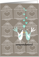 Cute Birds with Cages - Lesbian Wedding Congratulations card
