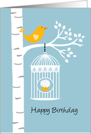 Birch Tree with Bird and Cupcake - Happy Birthday card