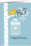 85th birthday - Bird in birch tree card