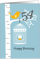 54th birthday - Bird in birch tree card