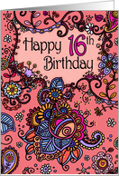 Happy Birthday - Mendhi - 16 years old card