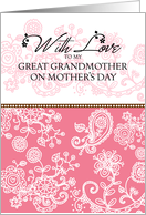 Great Grandmother - pink mendhi - With Love on Mother's Day card