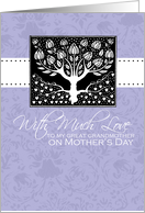 Great Grandmother - purple love tree - With Much Love on Mother's Day card