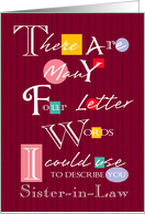 Sister-in-Law - Four Letter Words - Birthday card