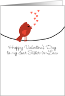To My Sister-in-Law - Singing Bird with Hearts - Valentine's Day card
