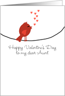 To the My Aunt - Singing Bird with Hearts - Valentine's Day card