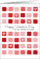 To My Sister-in-Law - Hearts and Squares - Valentine's Day card