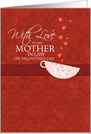With love to my Mother in Law on Valentine's Day - Red Damask Teacup card