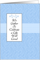 Blue Memorial Invitation - Celebrate a Life Well Lived card