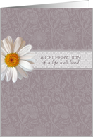 White Daisy Memorial Invitation - Celebrating a Life Well Lived card