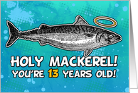 13 years old - Birthday - Holy Mackerel card