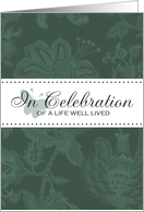 Memorial Service Invitation - Green Butterfly - Celebrate a Life Well Lived card