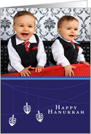 Hanukkah Three Dreidel - Customized Photo card