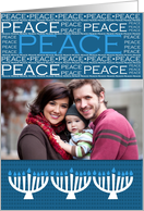 Hanukkah Peace with Menorah - Customized Photo card