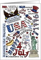 Teacher - Happy 4th of July Word Cloud card