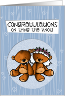 Wedding Congratulations - Teddy Bear bride and groom card