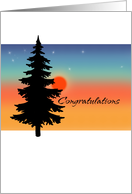 Chemotherapy Congratulations - Pine Tree at Sunrise card