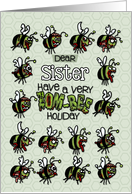 for Sister - Zombie Christmas - Zom-bees card