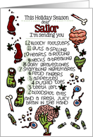 for my Sailor - 12 Days of Zombie Christmas card