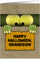 Customizable Happy Halloween Grandson-Monster in a Box card